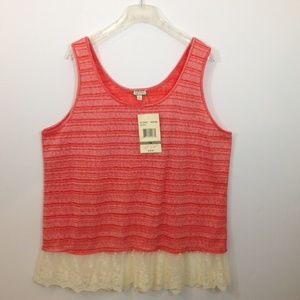 Eyeshawdow Orange Stripe Lace Trim Tank Top.